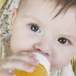 Hispanic baby drinking from bottle — Stock Photo