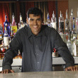 Stock Photo: Hispanic male bartender leaning on bar