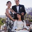 Hispanic girl with parents at Quinceanera — Stok fotoğraf