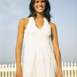 Foto Stock: Young womwearing sundress