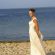Bride walking on beach — Stock Photo