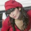 Hispanic womwearing beret — Stock Photo #23279278