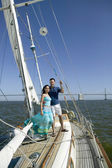 Portrait of couple on sailboat — Stock Photo