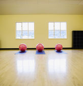 Exercise balls on mats in health club — Stock Photo