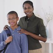 African mother standing with son — Stock Photo