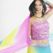 Blurred motion shot of Indian woman dancing — Stock Photo