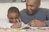Africano padre e hijo para colorear — Foto de Stock