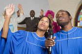 African American singing in church — Stok fotoğraf