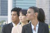 Tres empresarios mirando al lado — Foto de Stock