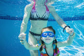 Underwater shot of Asian mother and daughter — Stock Photo