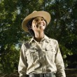 African American female Park Ranger looking up — Stock Photo