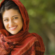 Portrait of Indian woman wearing head scarf — Stock Photo