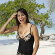 South American woman at beach — Stock Photo