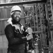 Stock Photo: Portrait of AfricAmericmale welder