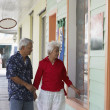 Senior Asian couple window shopping — Stockfoto