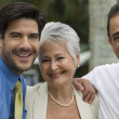 Hispanic businesspeople laughing — Stock Photo