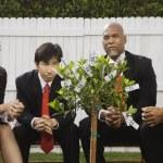 Multi-ethnic businesspeople looking at money tree — Stock Photo