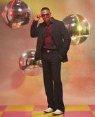 African American man in front of disco balls — Stock Photo