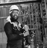 Portrait of African American male welder — Stock Photo