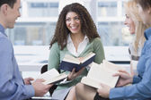 Multi-ethnic friends at book group — Stock Photo