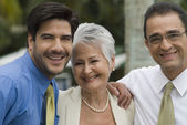 Hispanic businesspeople laughing — Stock Photo
