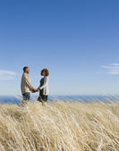 African American couple holding hands in field — Stock Photo