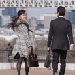 Asian businesspeople walking outdoors — Foto de Stock