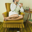 Asian woman talking on telephone — Foto Stock