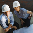 Multi-ethnic businesspeople wearing hard hats — Stock Photo