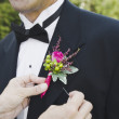 Asian woman pinning groom's boutonniere — Stock Photo