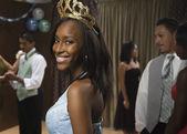African teenaged girl wearing tiara at prom — Stock Photo