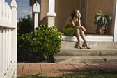 Hispanic teenaged girl in evening gown — Stock Photo