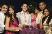 Multi-ethnic couples at party — Stock Photo