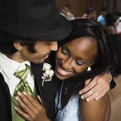 Multi-ethnic teenaged couple at prom — Stock Photo