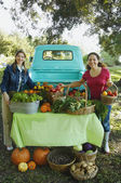 Hispanic women at organic farm stand — Stockfoto