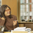 Asian businesswoman looking to side — Stock Photo