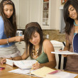 Stock Photo: Hispanic teenaged girls studying