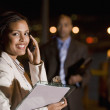 African American businesswoman talking on cell phone — Foto de Stock