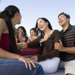 Multi-ethnic friends at picnic table — Stock Photo