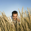 Pacific Islander man in field — Stock Photo