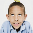 African boy with frog on head — Stock Photo