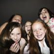 Multi-ethnic girls laughing — Stockfoto
