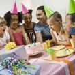 Multi-ethnic girls at birthday party — Stock Photo