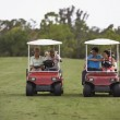 Multi-ethnic couples racing golf carts — Stock Photo