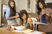 Hispanic teenaged girls studying — Stock Photo