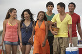 Multi-ethnic friends carrying beach supplies — Stock Photo