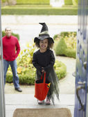 African girl in Halloween costume — Stock Photo