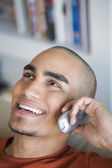 African American man talking on telephone — Stock Photo