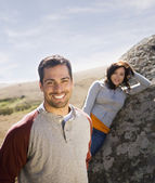 Multi-ethnic couple in sunlight — Stock Photo