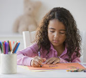 African girl coloring — Stock Photo